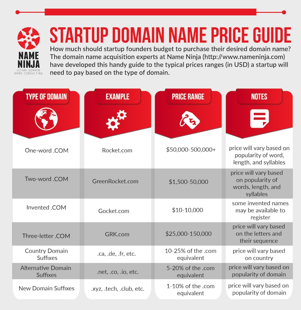How Much is a Domain Name Worth: Name Ninja Startup Domain Name Price Guide
