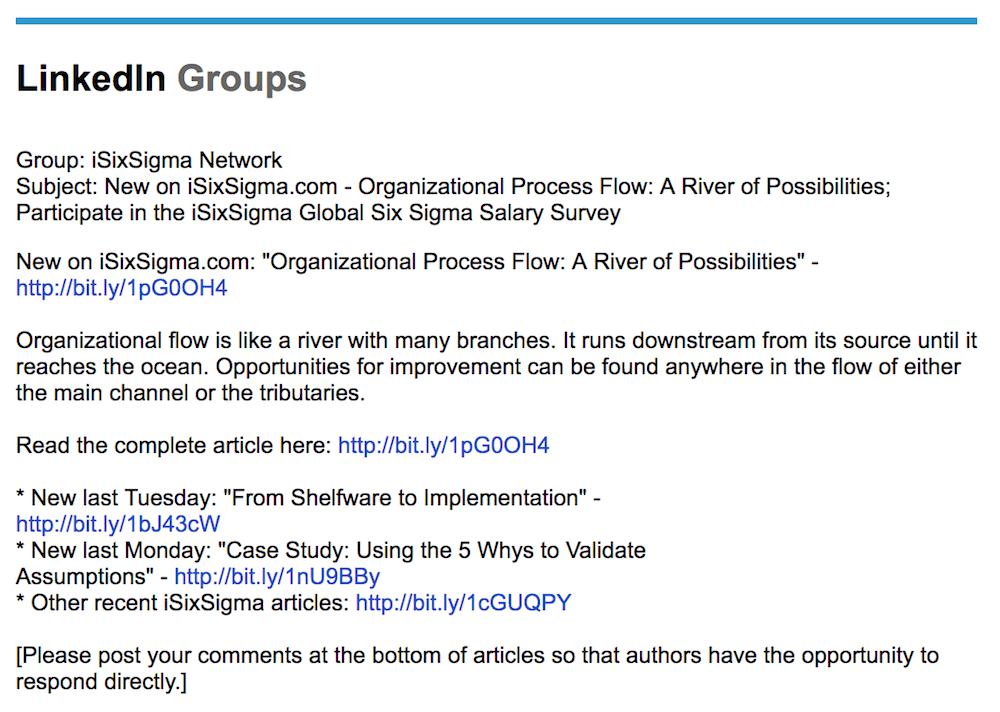 Linkedin Email from iSixSigma to Network