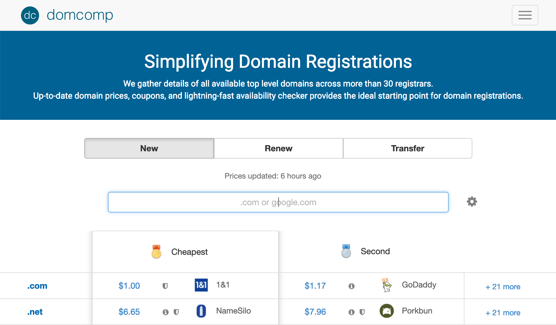 DomComp.com for Comparing Domain Name Registration and Renewal Prices
