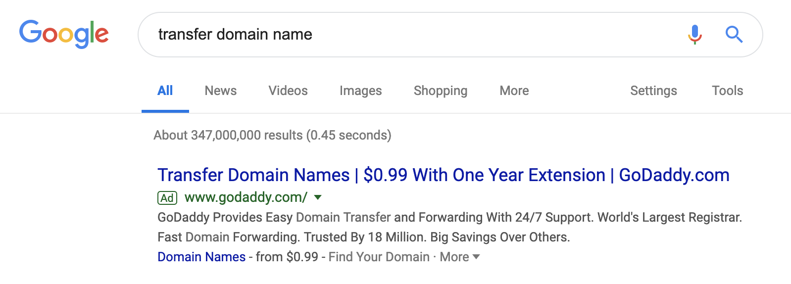 Google Transfer Domain Name Coupon for $0.99