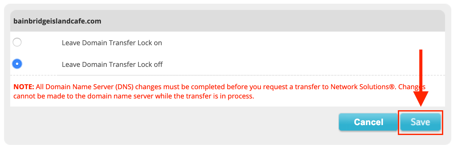 Network Solutions Leave Transfer Lock Off