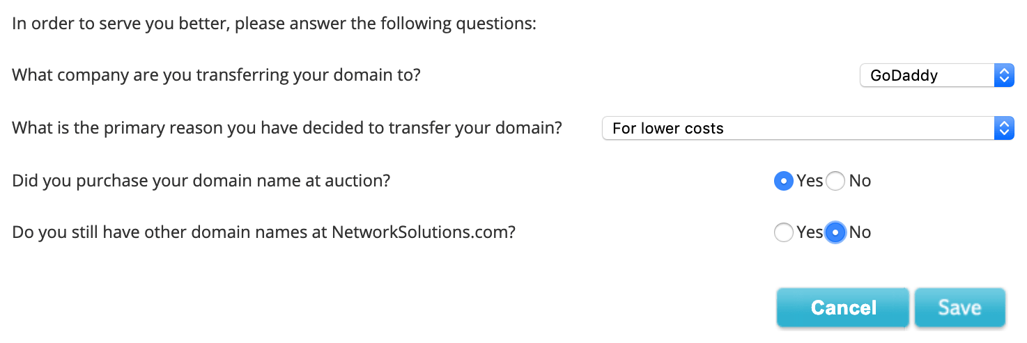 Network Solutions Survey