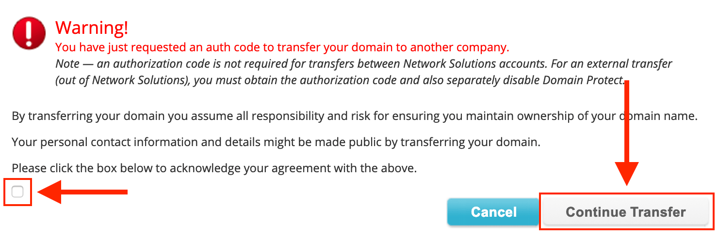 Network Solutions Warning Confirmation