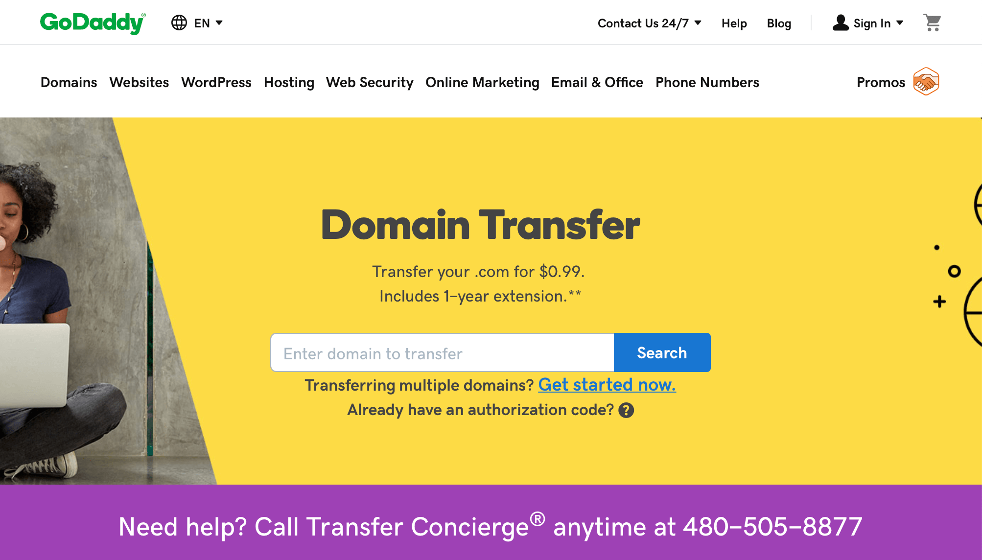 Transfer Domain Name At GoDaddy for $0.99