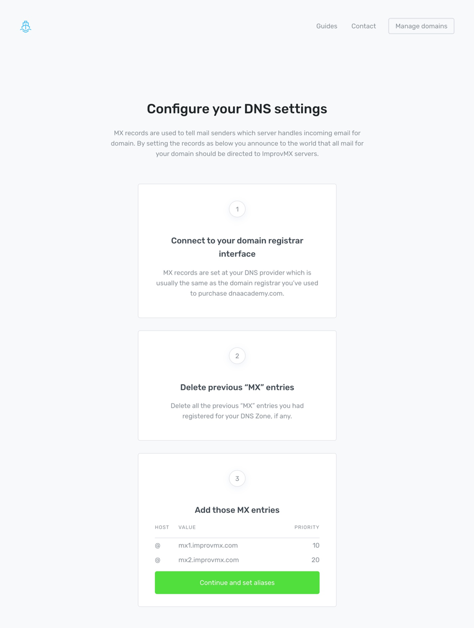 Configure DNS settings for your catch-all emails