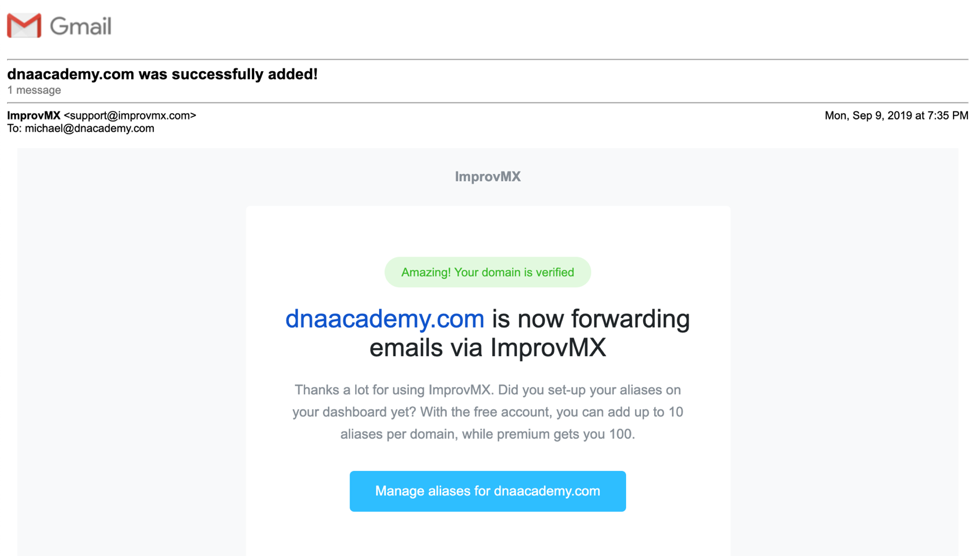 Catch-all Emails Forwarding Email Confirmation